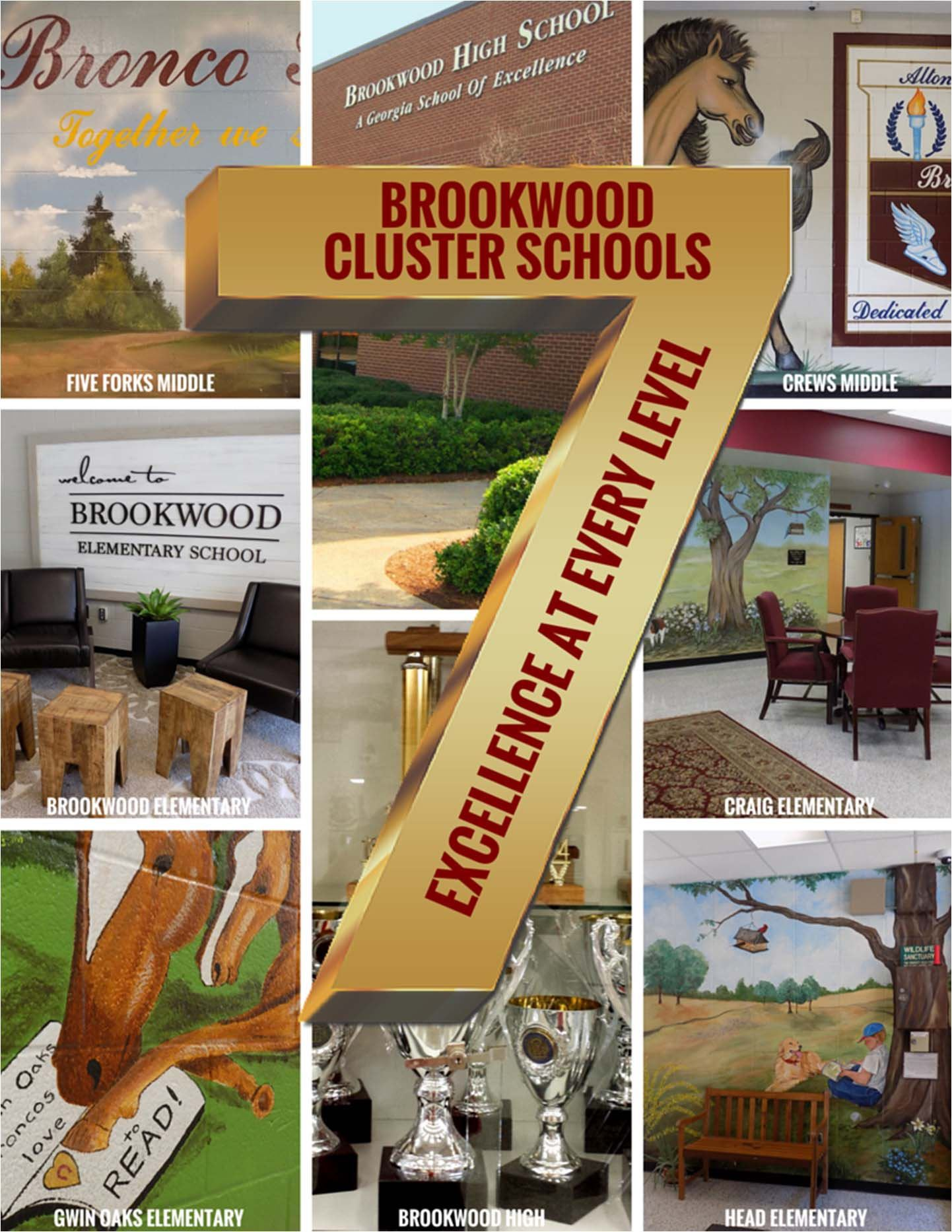 Collage of 7 schools in Brookwood cluster