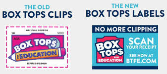 The old Boxtops clips; the new Boxtops labels no more clipping scan your receipt see how at btfe.com