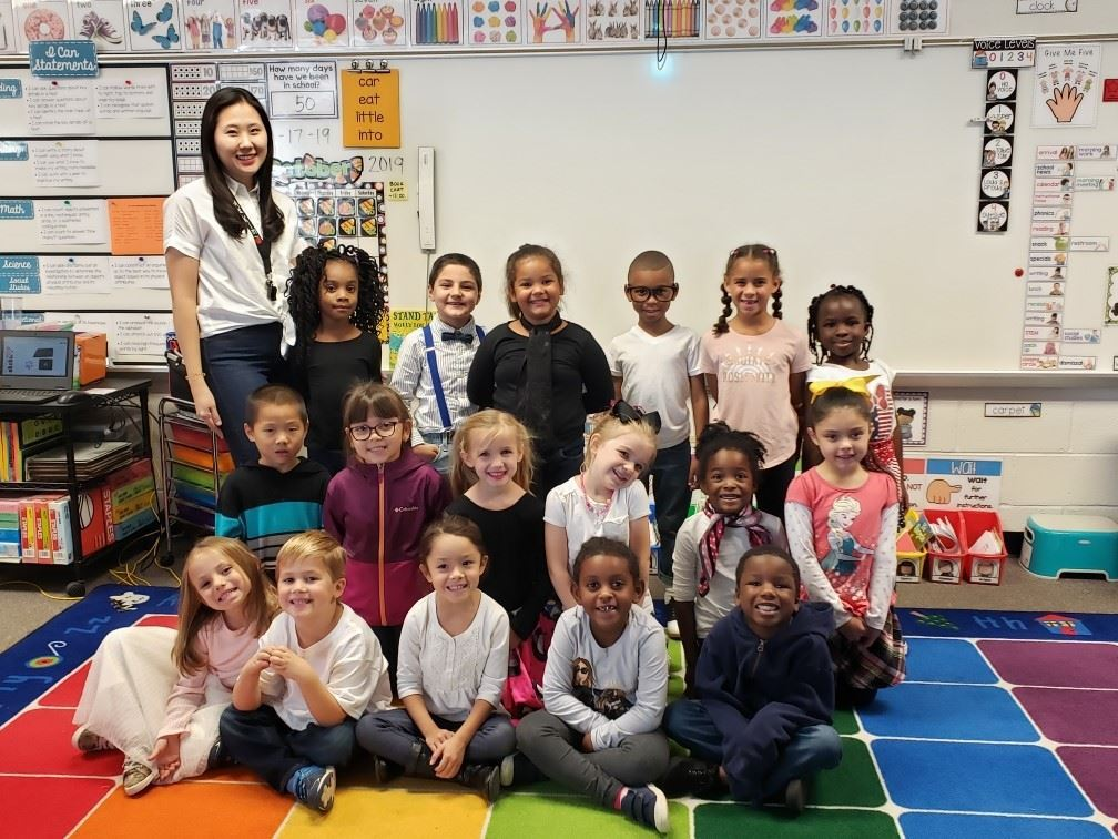 Ms. Kim's kindergarten class celebrating the 50th day of school