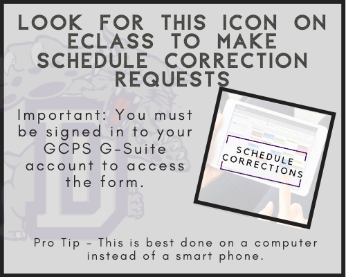 Look for the schedule corrections icon on eclass