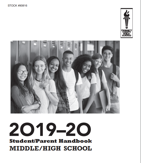 Picture of cover of student-parent handbook with students smiling students leaning on lockers.