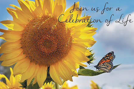 sunflower and butterfly with celebration of life text