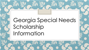 Georgia Special Needs Scholarship Information
