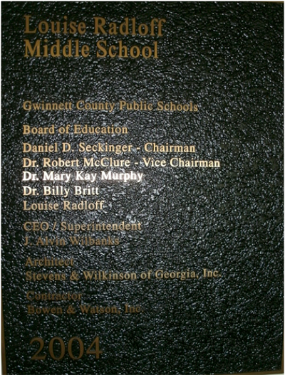 Louise radloff middle school plaque