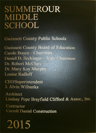 Summerour middle school plaque