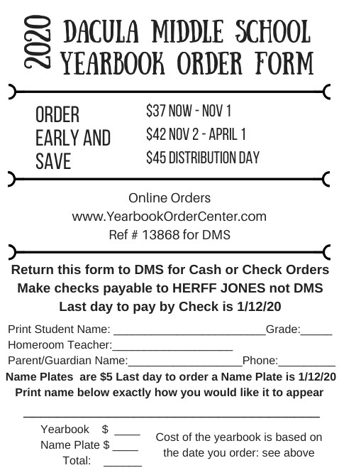 Yearbook Order Form