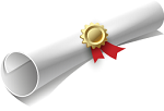 Rolled white diploma with gold holder band