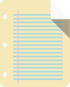 A sheet of notebook paper with blue lines and top right corner turned down