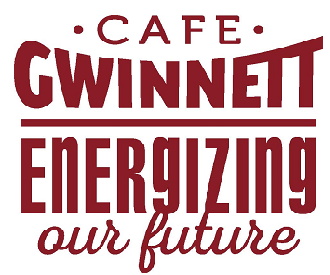 Cafe Gwinnett - Energizing our future text in red on white background