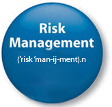 "blue botton with ""Risk Management"" written on it"