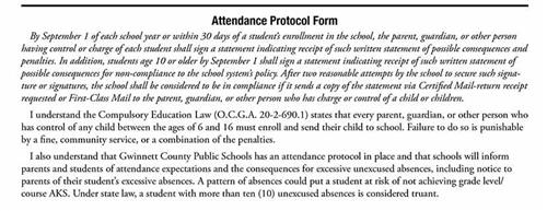 Attendance protocol form excerpt