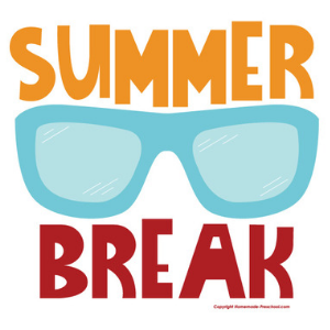 Summer Break text with sunglasses