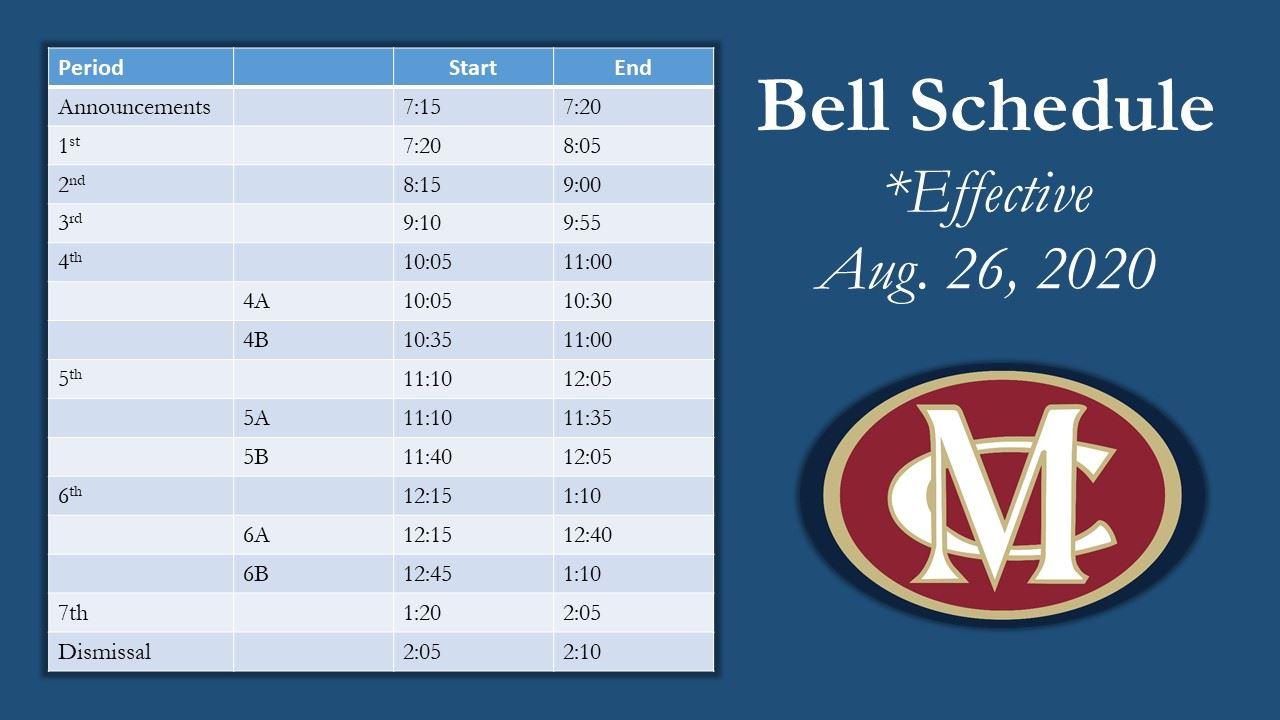 Orientation 2020 Bell Schedule 2020