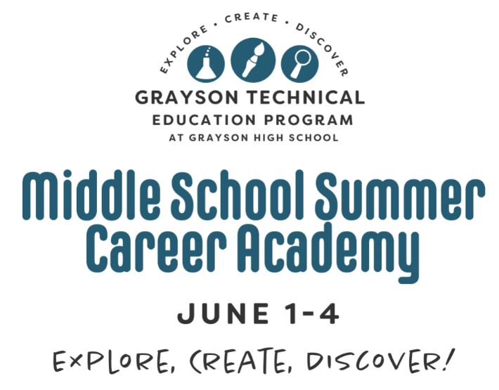 Middle School Summer Career Academy June 1st through June  4th