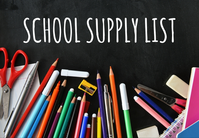 School Supply List with colored pencils and scissors
