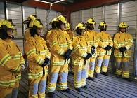 Students in full fire gear