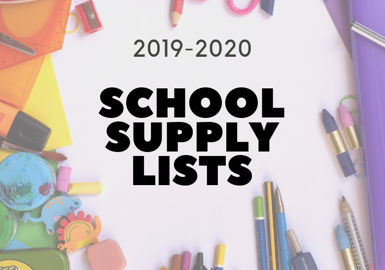 school supply list with colored pencil border