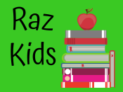 raz kids with stack of books and apple