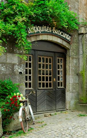 """A door with two sidelights and many small window panes, surrounded by an arch and greenery. The sign reads, """"Antiquités-Brocante"""""""