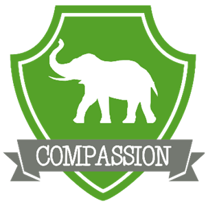 house compassion crest- green elephant