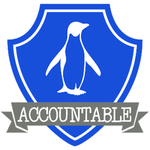 Accountable house crest- blue penguin