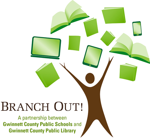 logo for Branch out partnership between the Gwinnett Public Library and GCPS