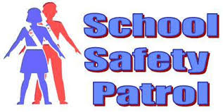 Drawing of a boy and a girl with School Safety Patrol text