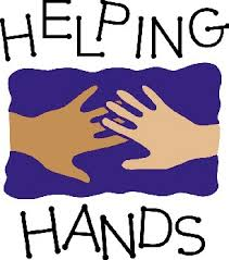 Two hands with text saying Helping Hands.