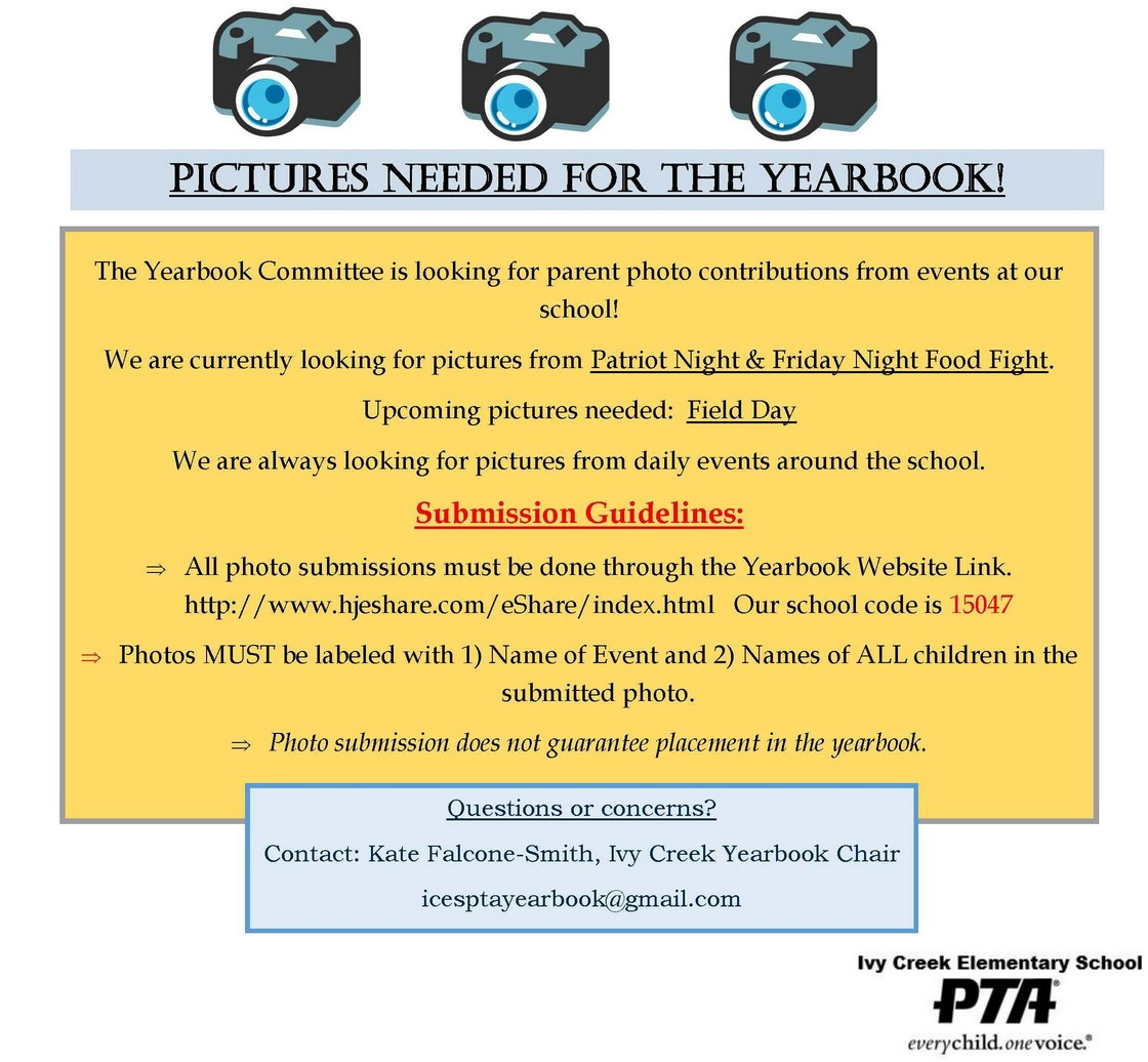 Pictures Needed for the Yearbook