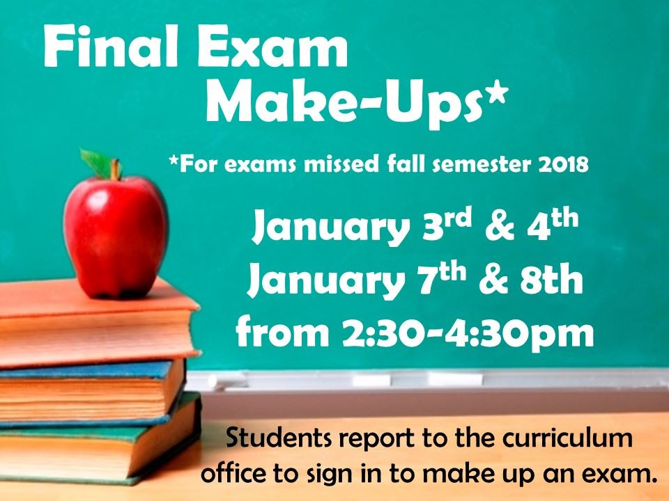 Make up exam schedule