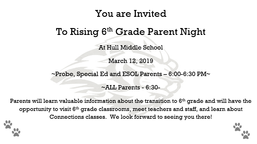 6th Grade Parent Night