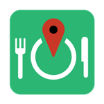 Food Finder Logo with a fork on the left a map point in the middle and a dinner knife on the right hand side.