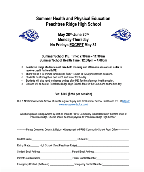 Summer Health and PE Sign Up
