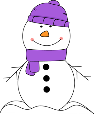 Snowman with purple hat and scarf.