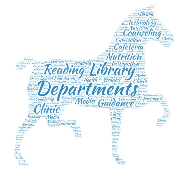 Word art in the shape of a horse.