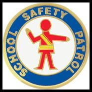 Picture of a safety patrol figure and the words school safety patrol.
