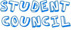 Student council in blue letters.