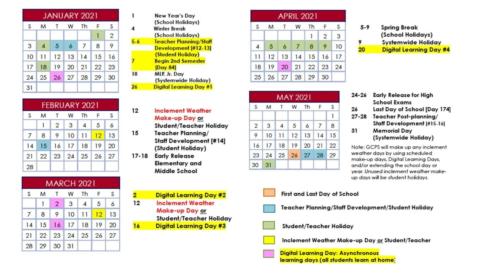 Highlighted changes to the GCPS calendar for Spring 2021