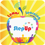 Lumao Learning Logo  yellow background with apple containing txt stating Step Up