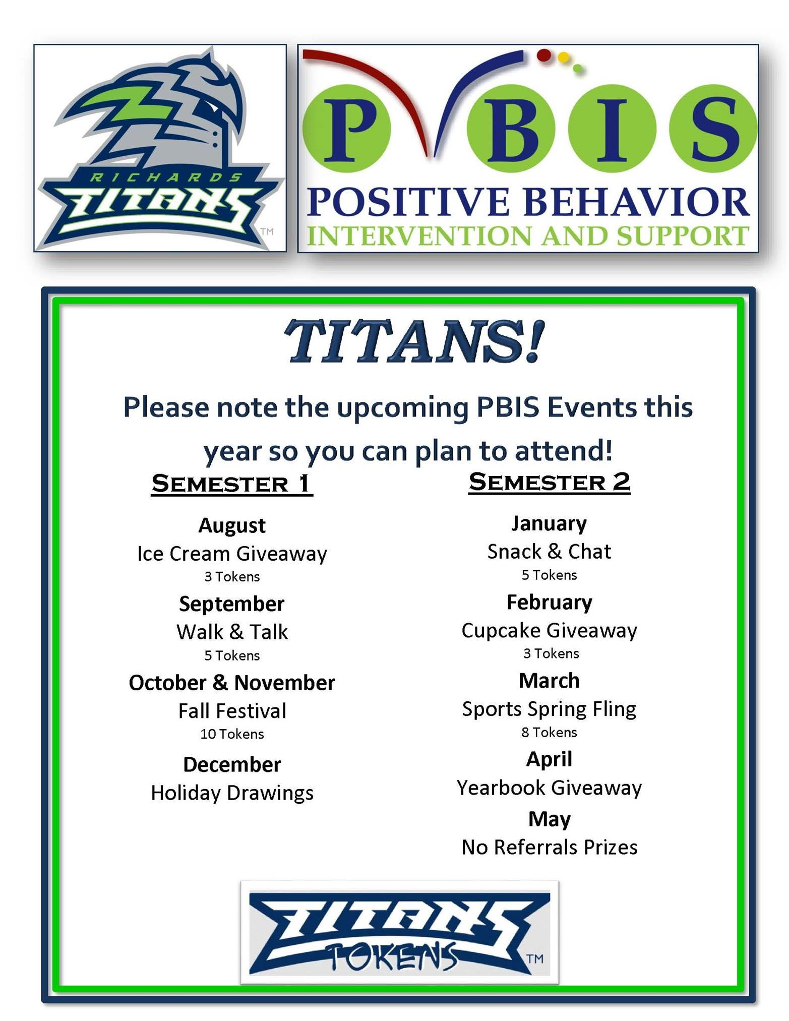 Poster Listing PBIS Events for 2019-2020