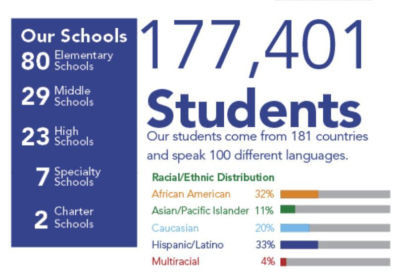 infographic:177,401 Students, students from 181 countries, 100 different languages, ethnic distribution