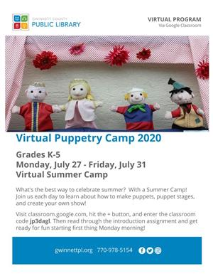 Picture of Virtual Puppetry Camp information.