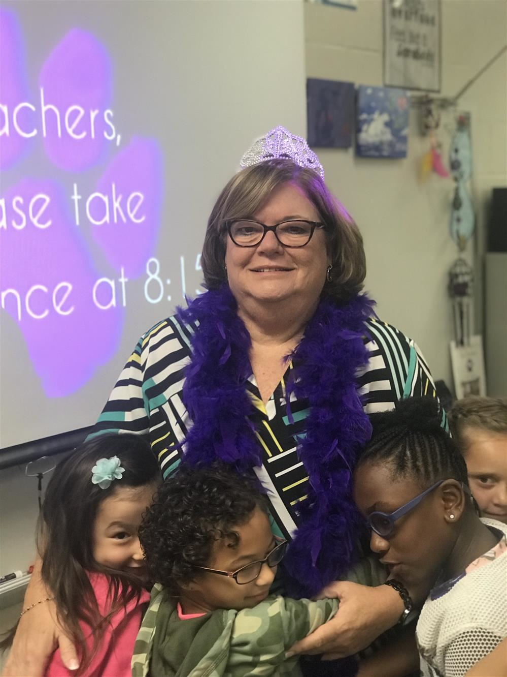 Ms. Cheryl Fletcher with her students. 2018 Teacher of the Year