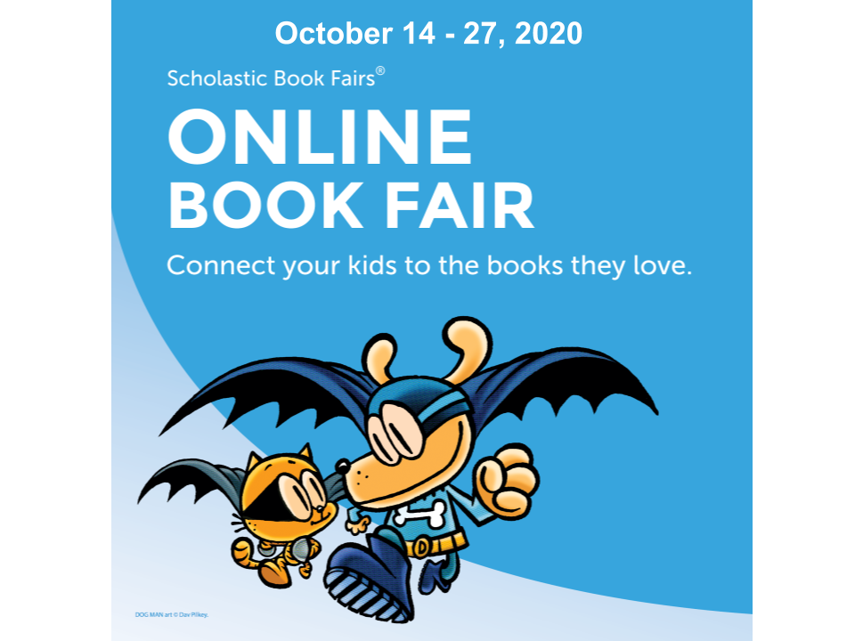 Image of Dog Man promoting online book fair October 14-27.