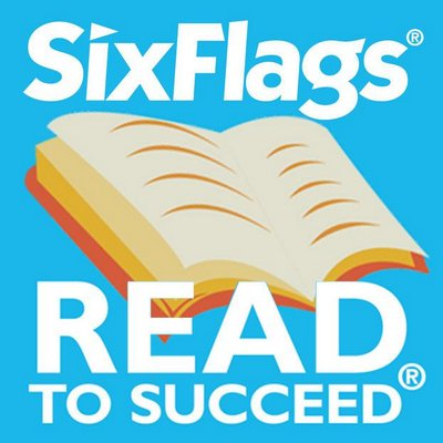 picture of a book with the words six Flags Read to Succeed