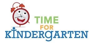A clock is shown with the words time for kindergarten