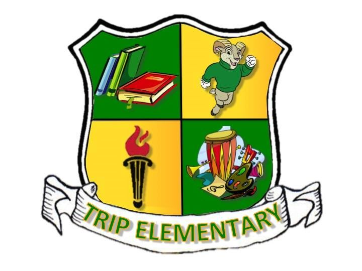 Trip Elementary Crest with books, trip ram, gwinnett county crest, drums, music sign, art palette