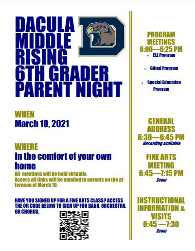 Rising Sixth Grade Parent Night Flyer