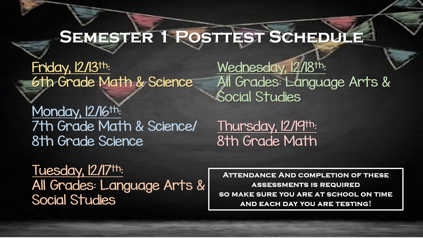 Picture of Semester 1 Posttest Schedule