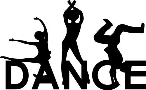 The word dance and dancing figures